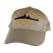 f27c8de36 Embroidered USS Missouri Battle Ship cap hat, Khaki