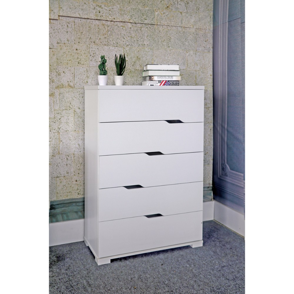Capacious 5 Drawer Storage Chest With Metal Glides, White Finish.