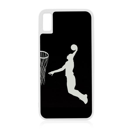 Basketball Player Silhouette iPhone 10 XR Basketball Case White Rubber Case for iPhone XR - iPhone XR Phone Case - iPhone XR Accessories