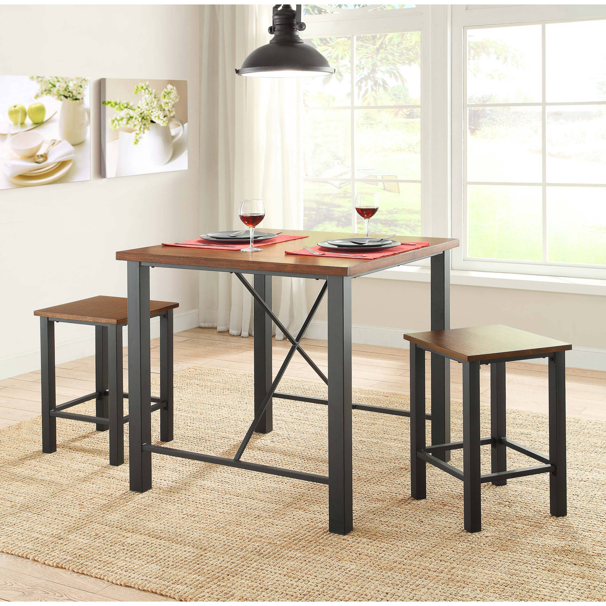 Amazing Whalen Industria 3 Piece Counter Height Dining Set, Brown