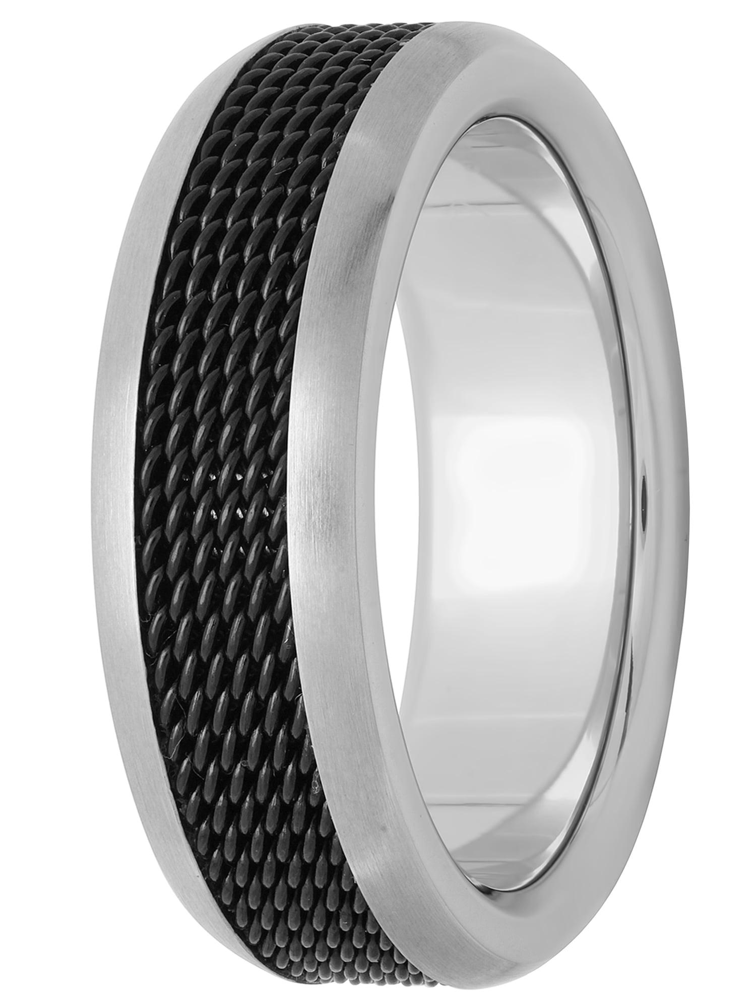 Men's Stainless Steel 8mm Two-Tone Black Mesh Wedding Band - Mens Ring