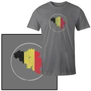 Men's Belgium Country Flag Illustration on Gray T-Shirt