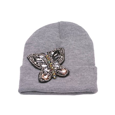 - Womens Beaded Butterfly Cuffed Beanie