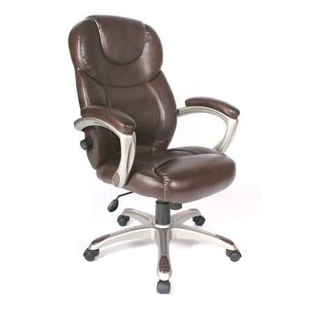 Granton Leather Executive Chair With Adjustable Lumbar Support  Mocha Brown