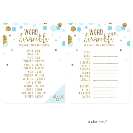 Word Scramble Game  Baby Blue Gold Glitter Baby Shower Games, 20-Pack