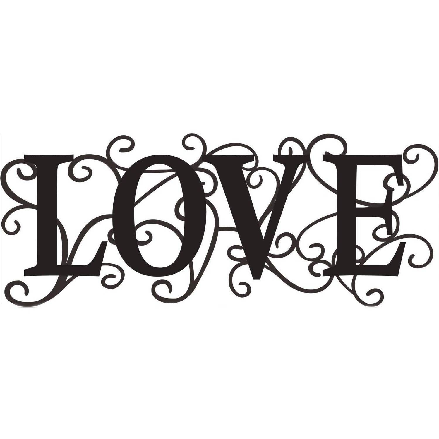 "16"" x 6"" Metal Words, Love"