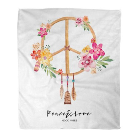 LADDKE Flannel Throw Blanket Love Colorful Peace Flower Symbol Watercolor 1970S 60S 70S Soft for Bed Sofa and Couch 50x60 Inches ()