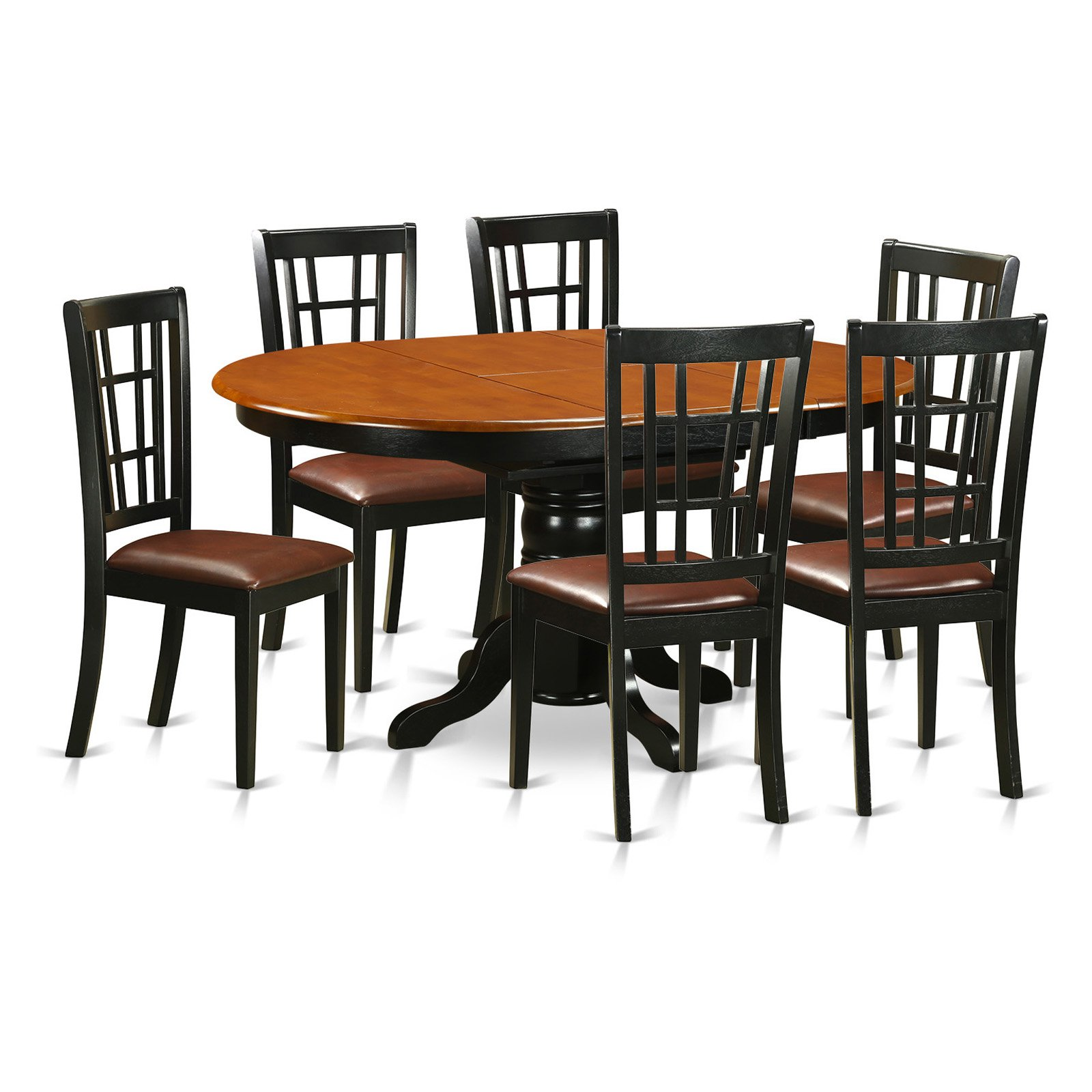 East West Furniture Avon 7 Piece Oval Pedestal Dining Table Set with...