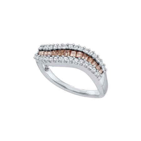 14kt White Gold Womens Princess Cognac-brown Colored Diamond Curved Band Ring .63 (Ct Tw Princess Diamonds Band)