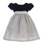 Little Girls Black Silver Glitter Velvet Corded Tulle Occasion Dress 2T-6