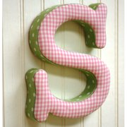 Newarrivals FLS-PG Fabric Letters S in Pink and Green