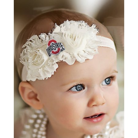 - Ohio State Buckeyes Baby/ Toddler Shabby Flower Hair Bow Headband