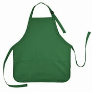 DALIX Apron Commercial Restaurant Home Bib Spun Poly Cotton Kitchen Aprons (3 Pockets) in Dark Green