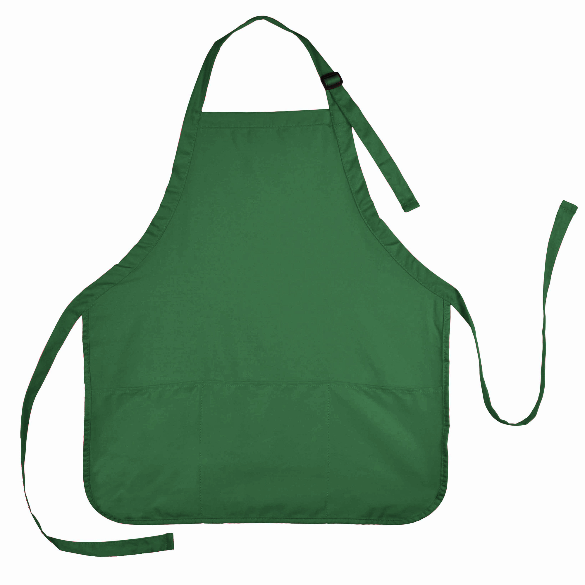 DALIX Apron Commercial Restaurant Home Bib Spun Poly Cotton Kitchen Aprons (3 Pockets) in Dark Green
