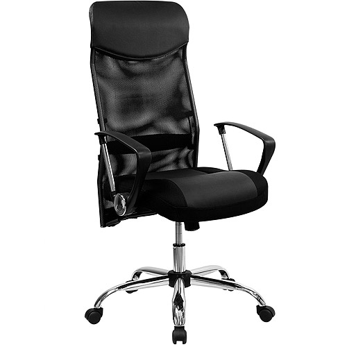 split leather high-back office chair with mesh back, black