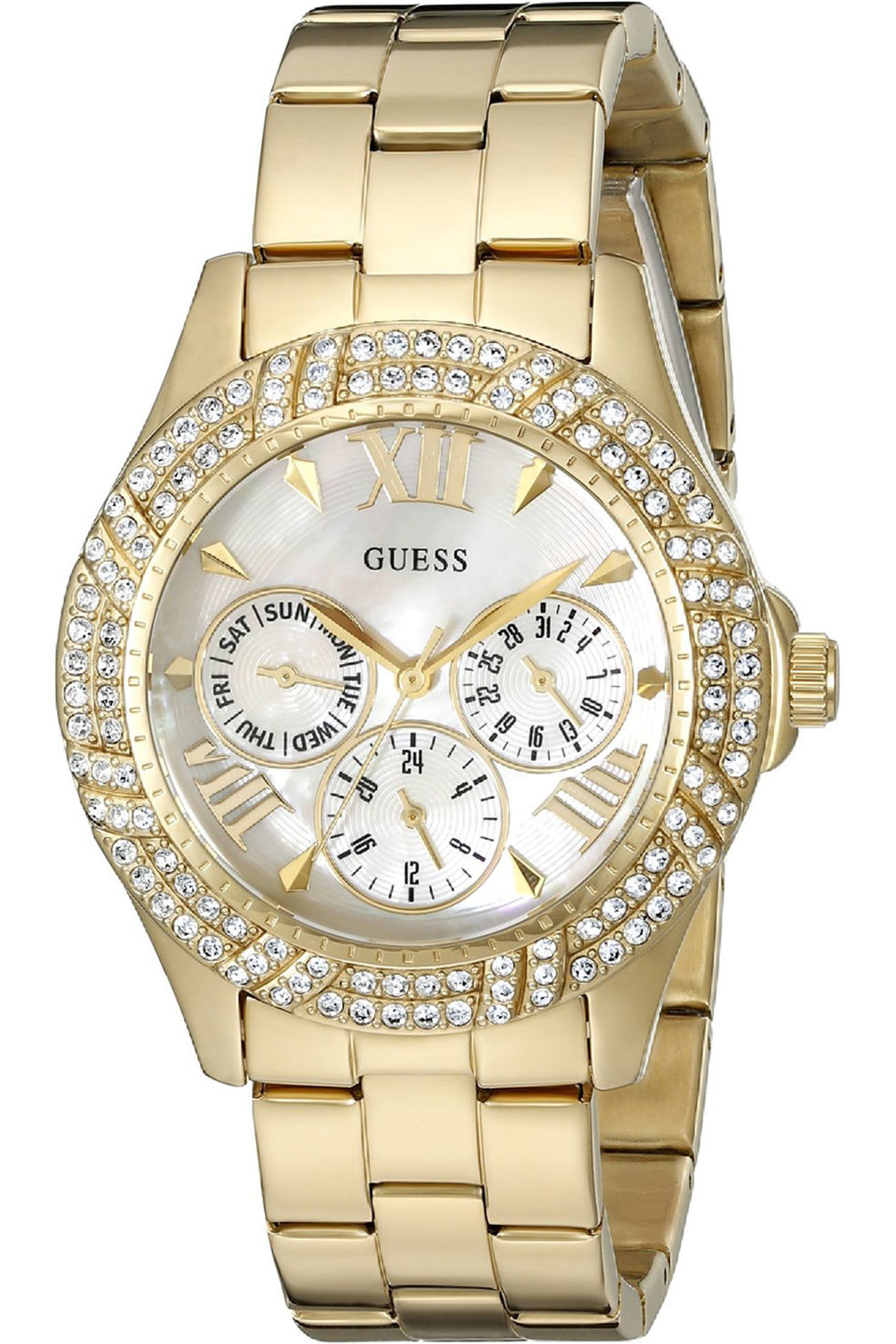 W0632L2,Ladies Dress,multi-function,Stainless Steel,gold-Tone,Crystal Accented Bezel,WR