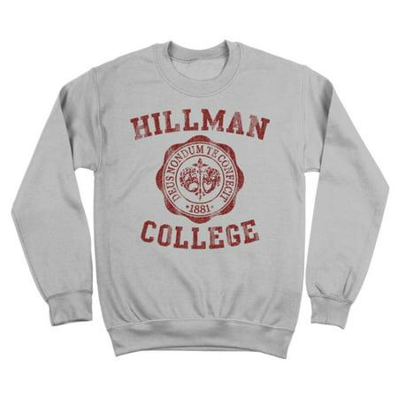 - Hillman College Seal Maroon Small Gray Crewneck Sweatshirt