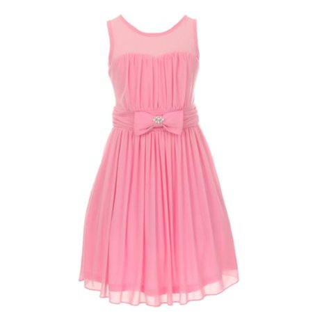 Girls Pink Chiffon Broach Pleated Flower Girl Dress 8 for $<!---->