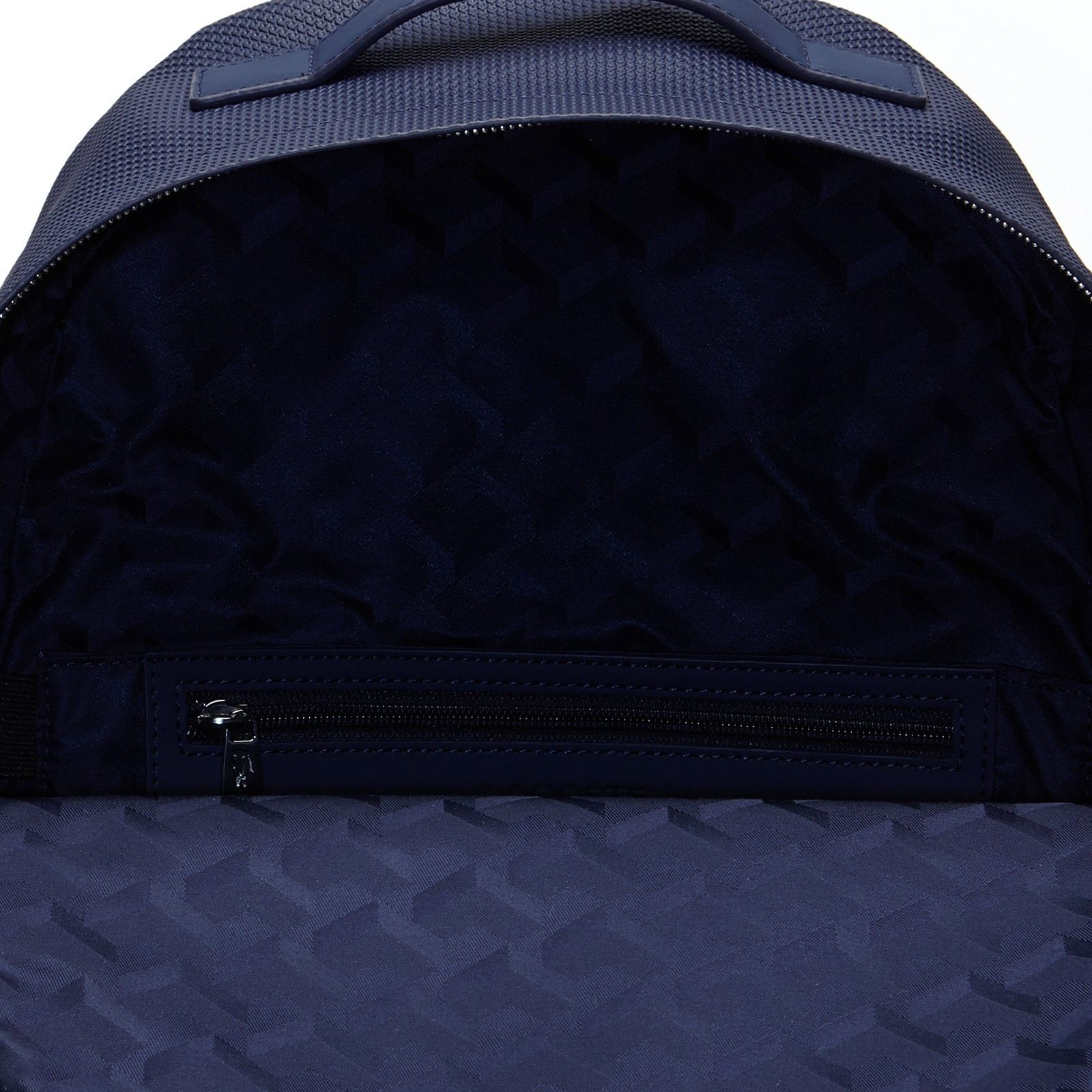 NEW MEN/'S LACOSTE CHANTACO EMBROIDERY COATED LEATHER NAVY BLUE BACKPACK BAG