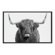 Kate and Laurel Sylvie Highland Cow Framed Canvas Wall Art by Amy Peterson, 23x33 Gray, Adorable Wall Decor for Living Room, Bedroom, Kitchen Or Nursery