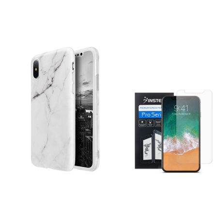newest d849d b8c0a Insten Marble Rubber Cover Case For Apple iPhone 10 iPhone X 2017 - White  (Bundle with Clear Screen Protector)