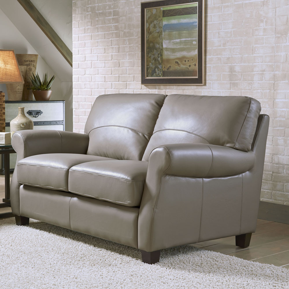 Lazzaro Carlyle Leather Loveseat in Adobe