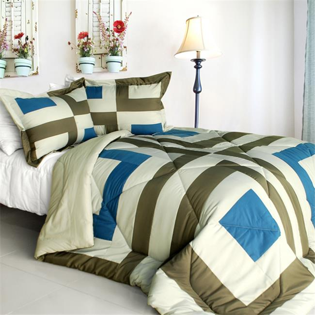 So Young - Quilted Patchwork Down Alternative Comforter Set  Full & Queen Size - Blue - image 1 de 1
