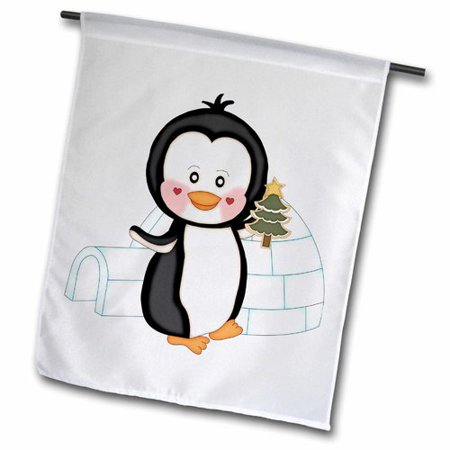 3dRose Cute Black and White Penguin Holding A Christmas Tree Cookie , Garden Flag, 18 by 27-Inch