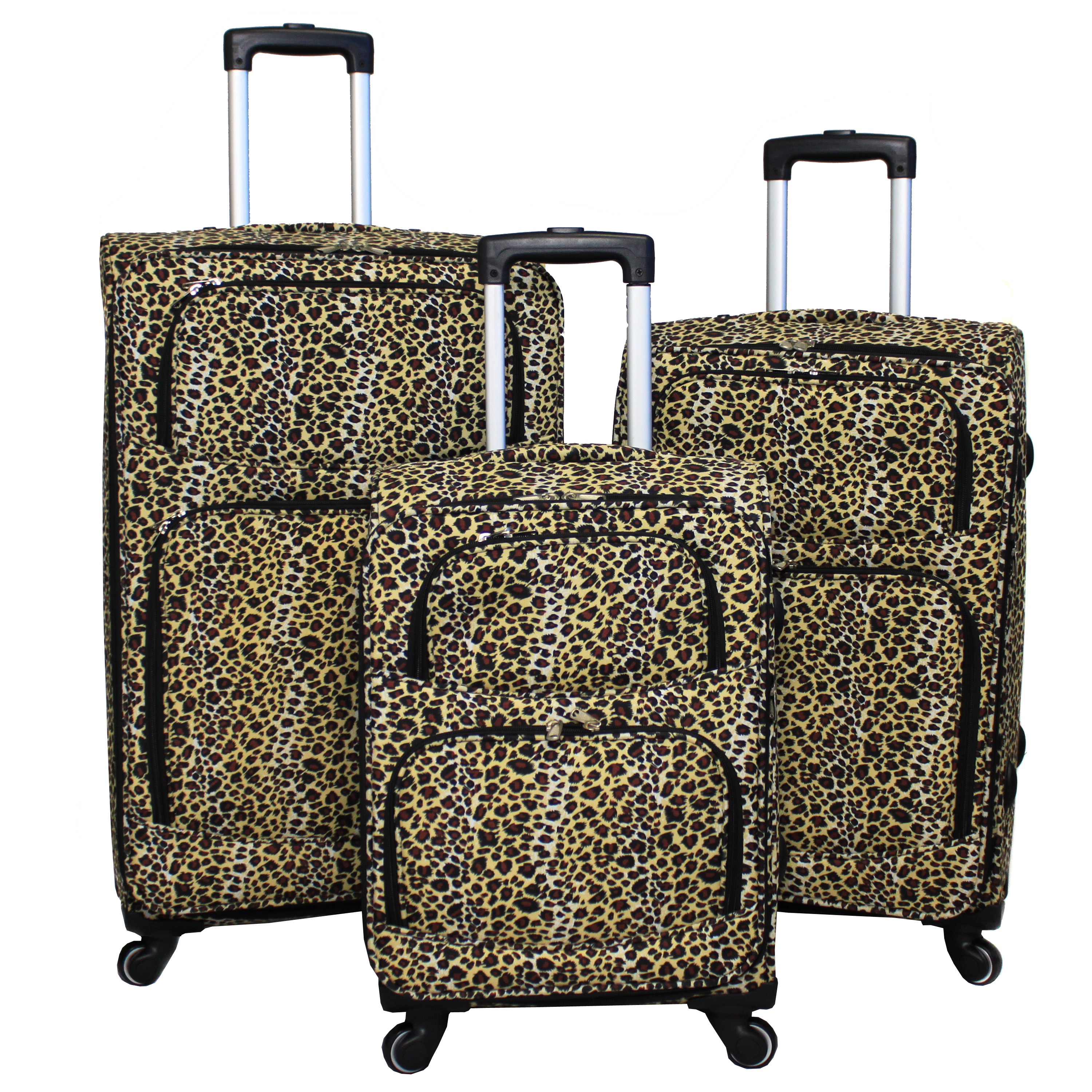 World Traveler Leopard Print 3-Piece Upright Spinner Luggage Set - Black Trim