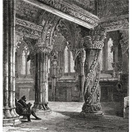 Interior of Roslin Chapel, with The Apprentice Pillar. Roslin, Midlothian, Scotland From The Book Scottish Pictures Drawn with Pen & Pencil By Samuel G. Green Published 1886 Poster Print&# - image 1 de 1