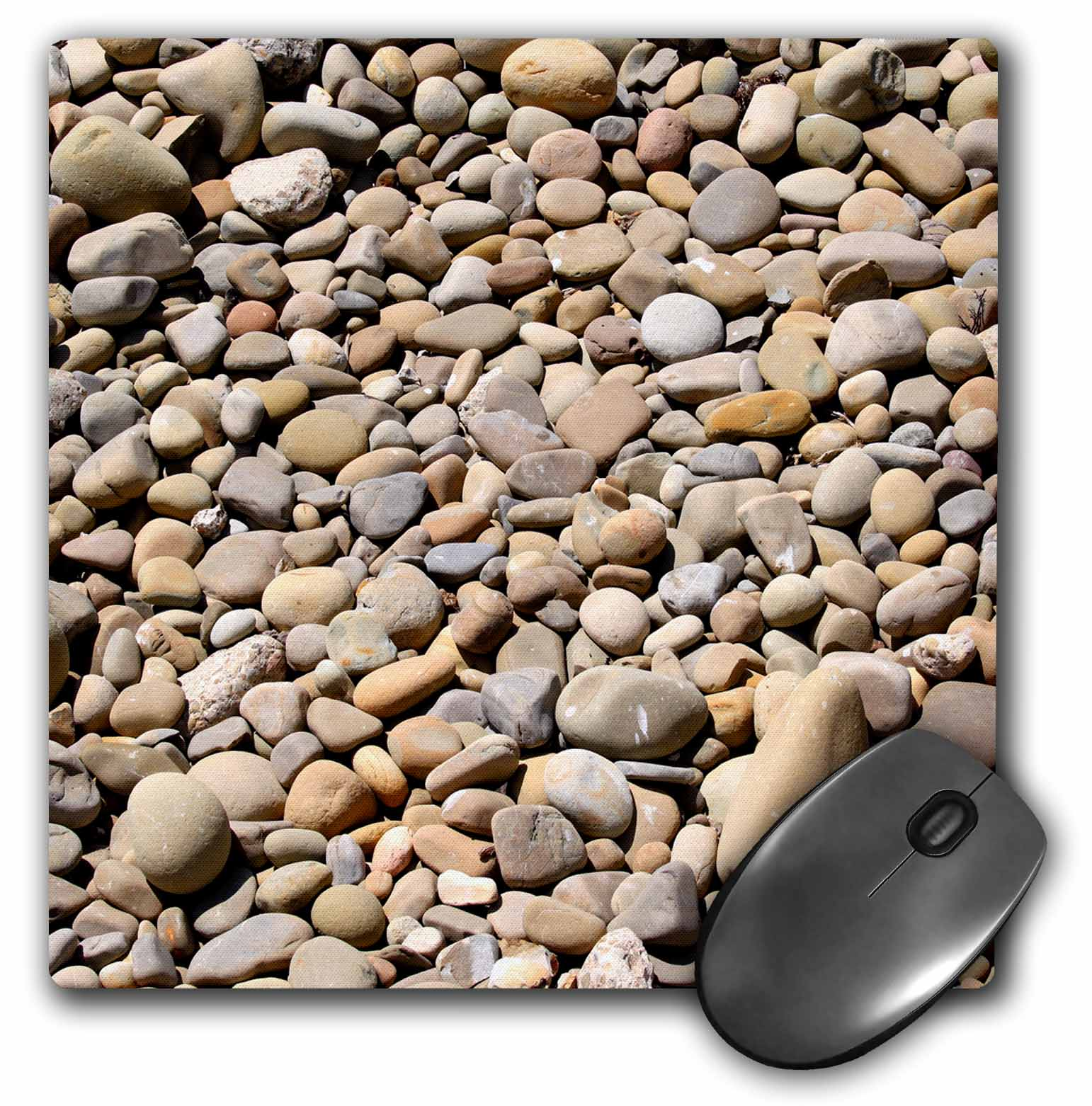 3dRose River rock pebbles with shades of different gray - stone, nature, pattern, round, zen, abstract, Mouse Pad, 8 by 8 inches