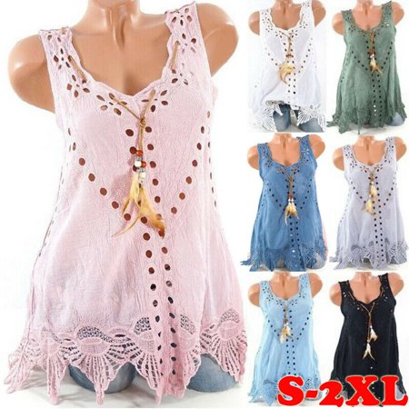 Women Summer Boho Sleeveless Tank Top Ladies Loose Casual Vest Blouse T Shirts