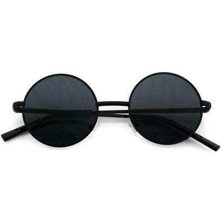 Vintage Retro Men Women Round Metal Frame Sunglasses Glasses Eyewear Black Lens ()