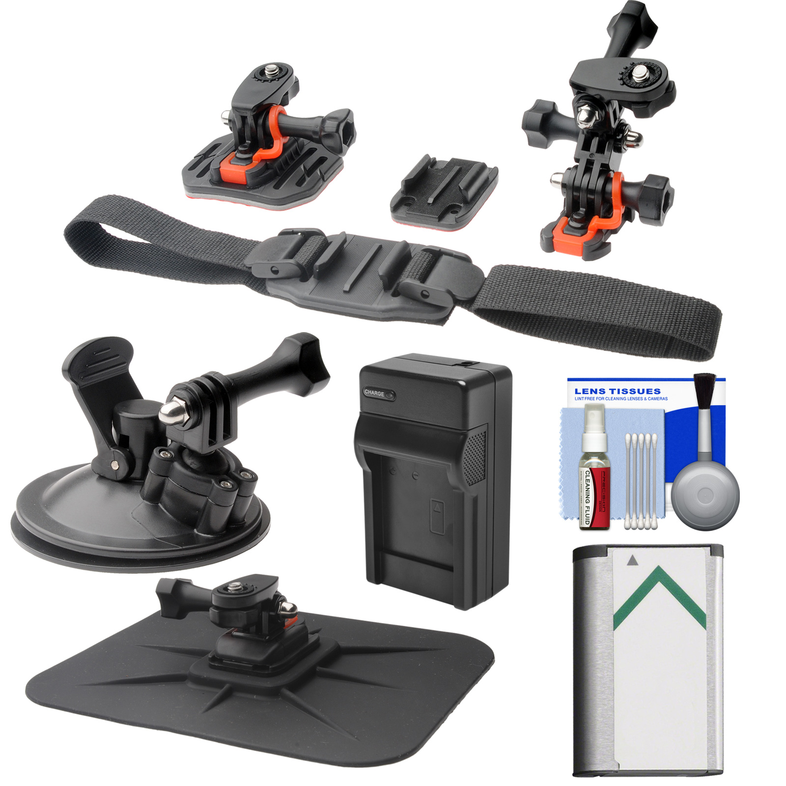 Essentials Bundle for Sony Action Cam HDR-AS20, AS50, AS100V, AS200V & FDR-1000X Camcorders with Helmet, Flat Surface & Car Mounts + Battery + Charger + Accessory Kit