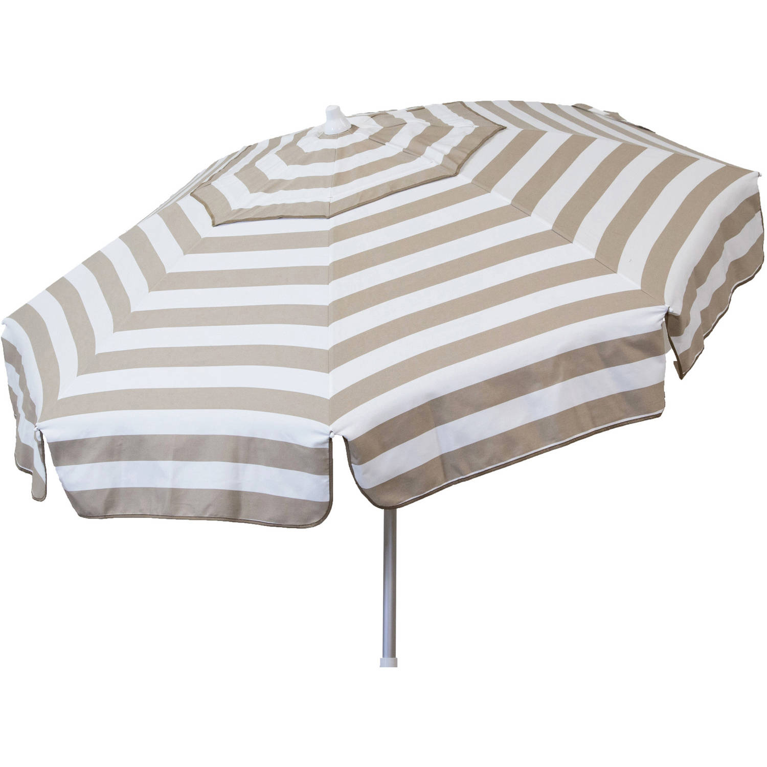 DestinationGear Italian 6' Umbrella Acrylic Stripes Khaki and White Beach Pole