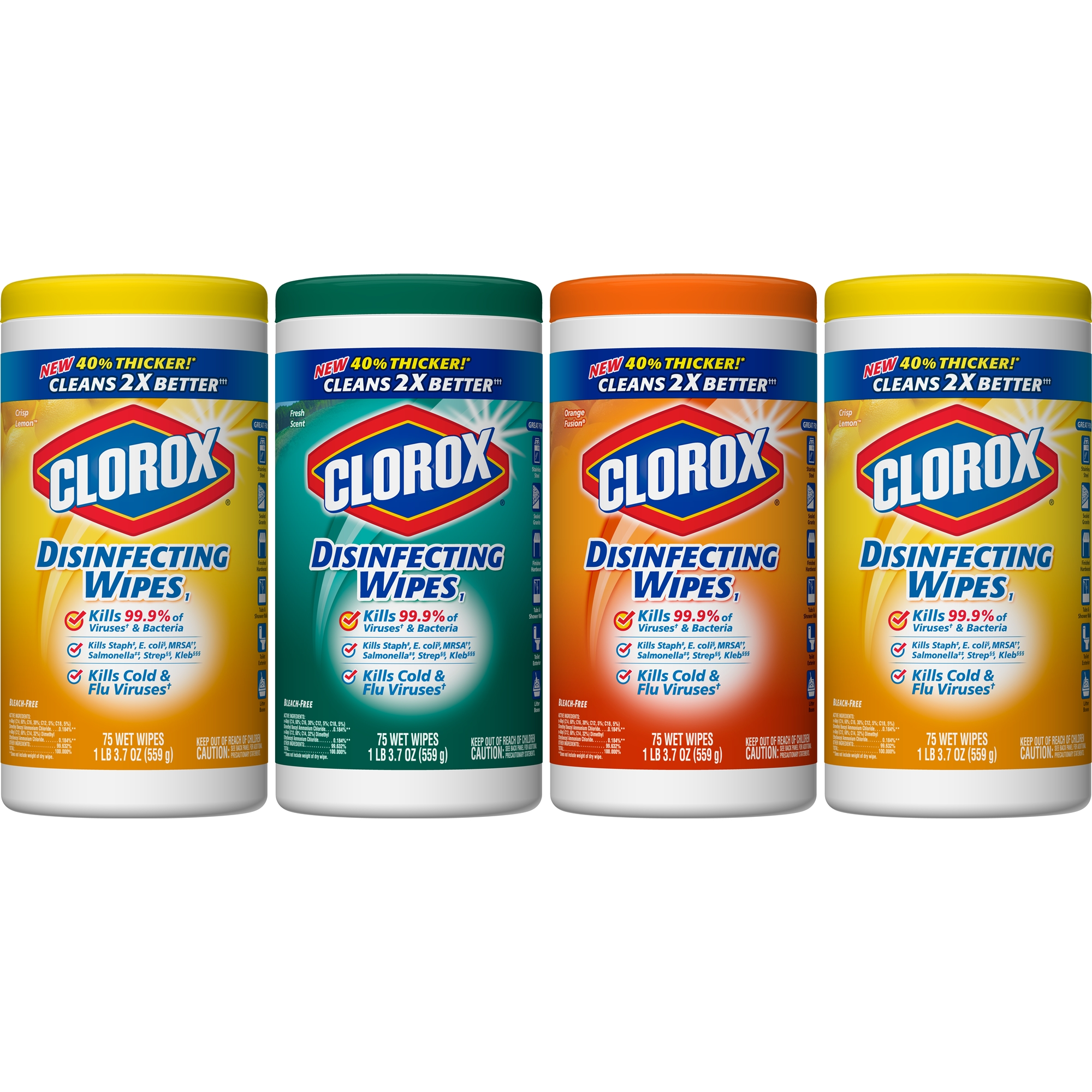 Clorox Disinfecting Cleaning Wipes Value Pack, Crisp Lemon Scent, Fresh Scent and Orange Fusion Scent, 75 Wipes, 4 ct