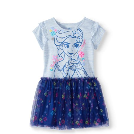 Elsa Toddler Girl Short Sleeve Tutu Dress - Frozen Dreas