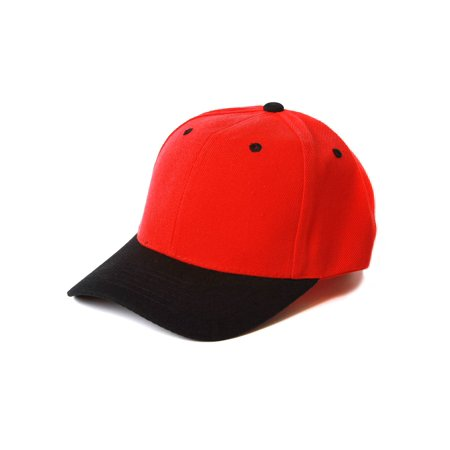 Plain Blank Baseball Hats Adjustable Caps, Red Black - Black Baseball Hat