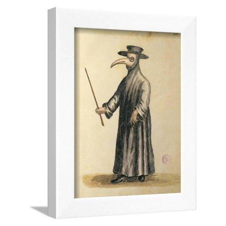 Venetian Doctor During the Time of the Plague Framed Print Wall Art By Jan van Grevenbroeck (Venetian Wall Art)