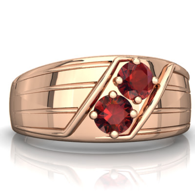 Garnet Art Deco Men's Ring in 14K Rose Gold by
