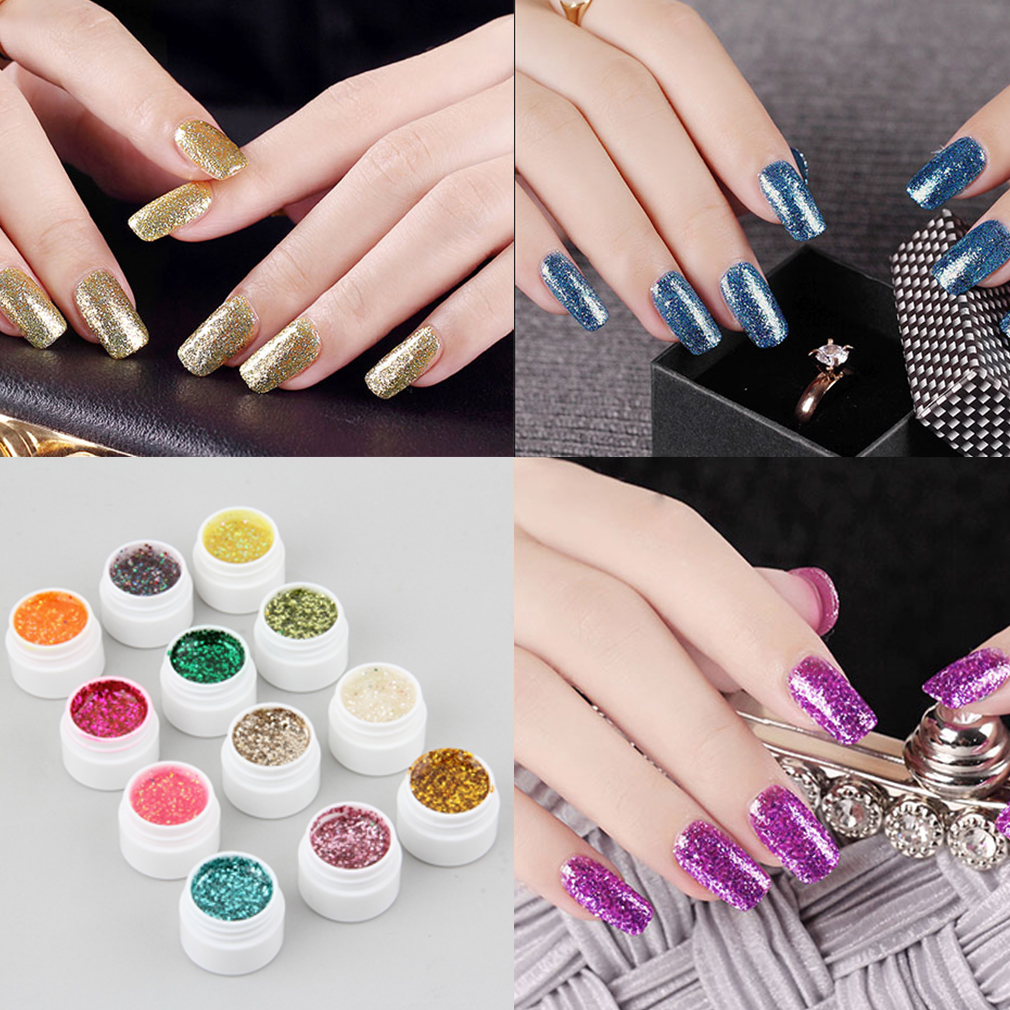 Professional 12pcs/set Glittery Colors Decor UV Gel Nail Art Tips Shiny Cover Extension Manicure High Quality,12 color Glittery UV GEL,
