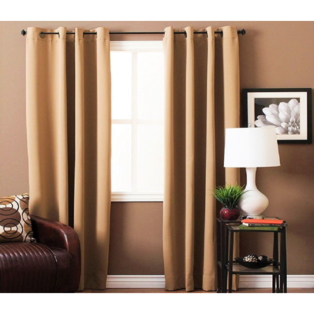 STYLISH 2PC GOLD SOLID COLOR BLACKOUT WINDOW GROMMEST PATIO CURTAIN PANEL SIZE : 55