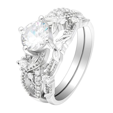 Ginger Lyne Collection Cabella CZ Engagement Bridal Wedding Ring Set from