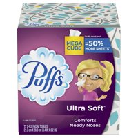 (2 pack) Puffs Ultra Soft Non-Lotion Facial Tissue, 2 Mega Cubes, 144 Total Tissues