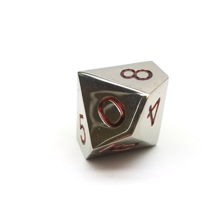 Single D10 20mm Numbered 0 to 9 Metal Die - Silver with Red Numbers