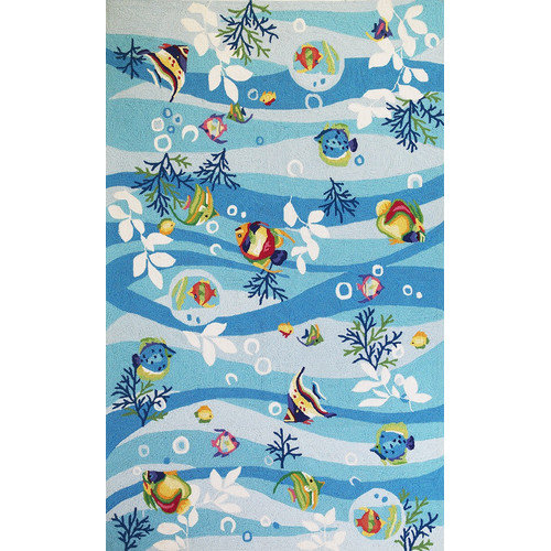 KAS Rugs Sonesta Blue Tropical Fish Area Rug