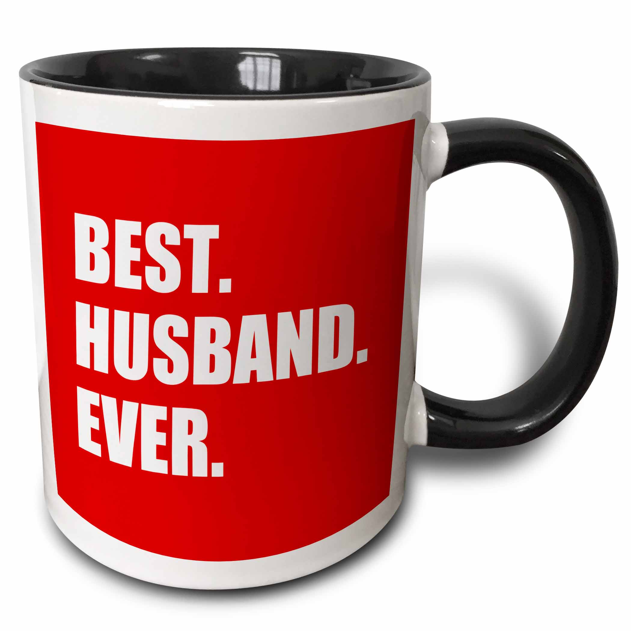 3dRose Red Best Husband Ever - white text anniversary romantic gift for him, Two Tone Black Mug, 11oz