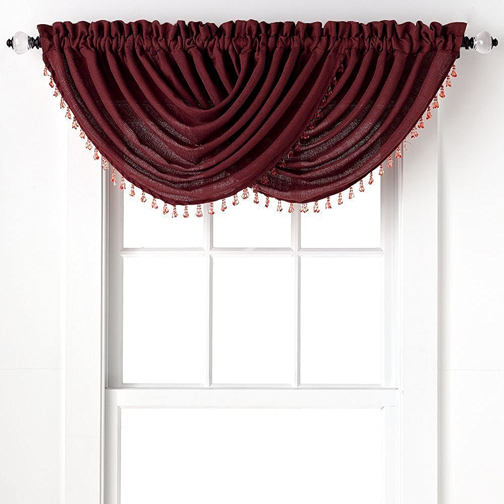 2-Pack: Beaded Emerald Crepe Waterfall Valances - Brick
