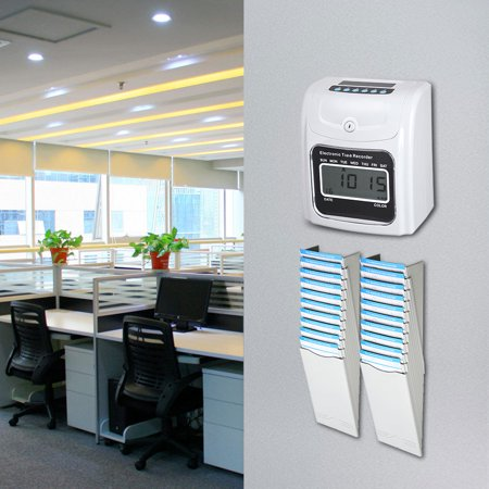Electronic Time Clock Employee Attendance Time Recorder Punch Clock w/ 100 Cards LCD Employee Attendance Clock