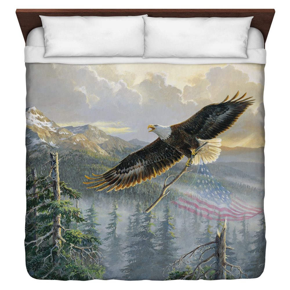 Wild Wings Rebuilding America 2 King Duvet Cover White 104X88